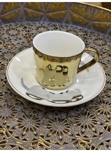 Arow Altın Çizgili 6 Kişilik Türk Kahvesi Fincanı Desen5 Altın